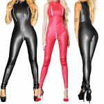 AU Sexy Women's Faux Leather Open Crotch Bust Catsuit Bodysuit Wet Look Jumpsuit