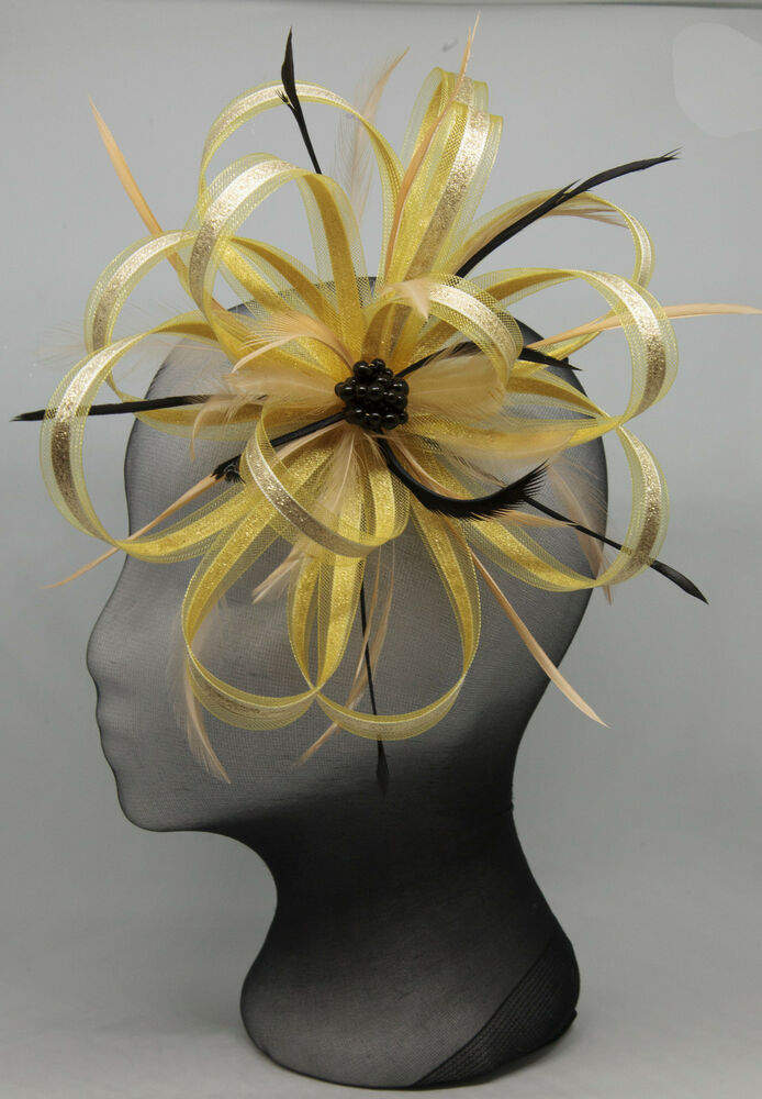 New Big Gold And Black Fascinator On A Comb EBay