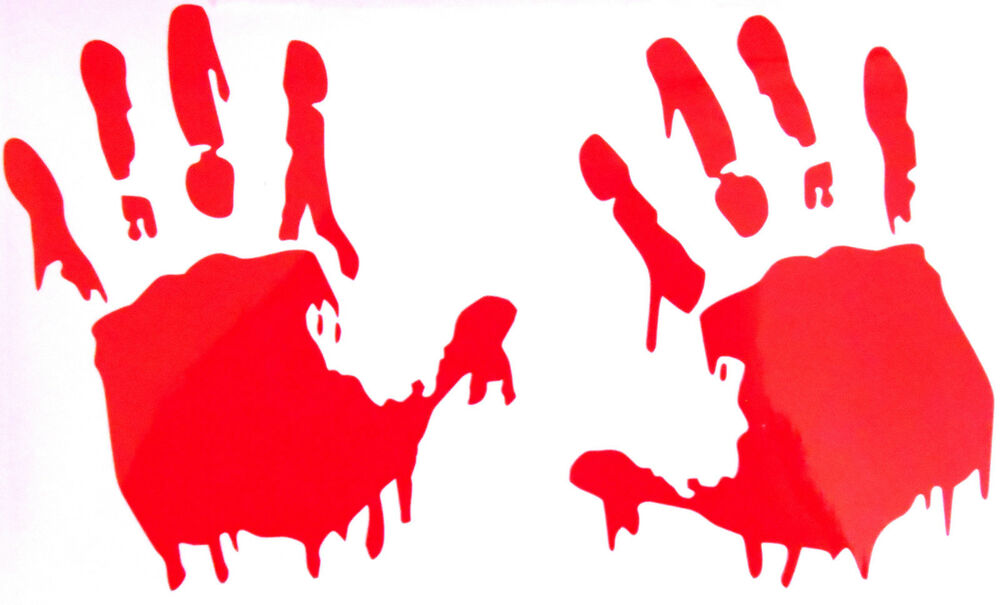 Halloween Gothic Bloody Handprint Hand Prints Wall