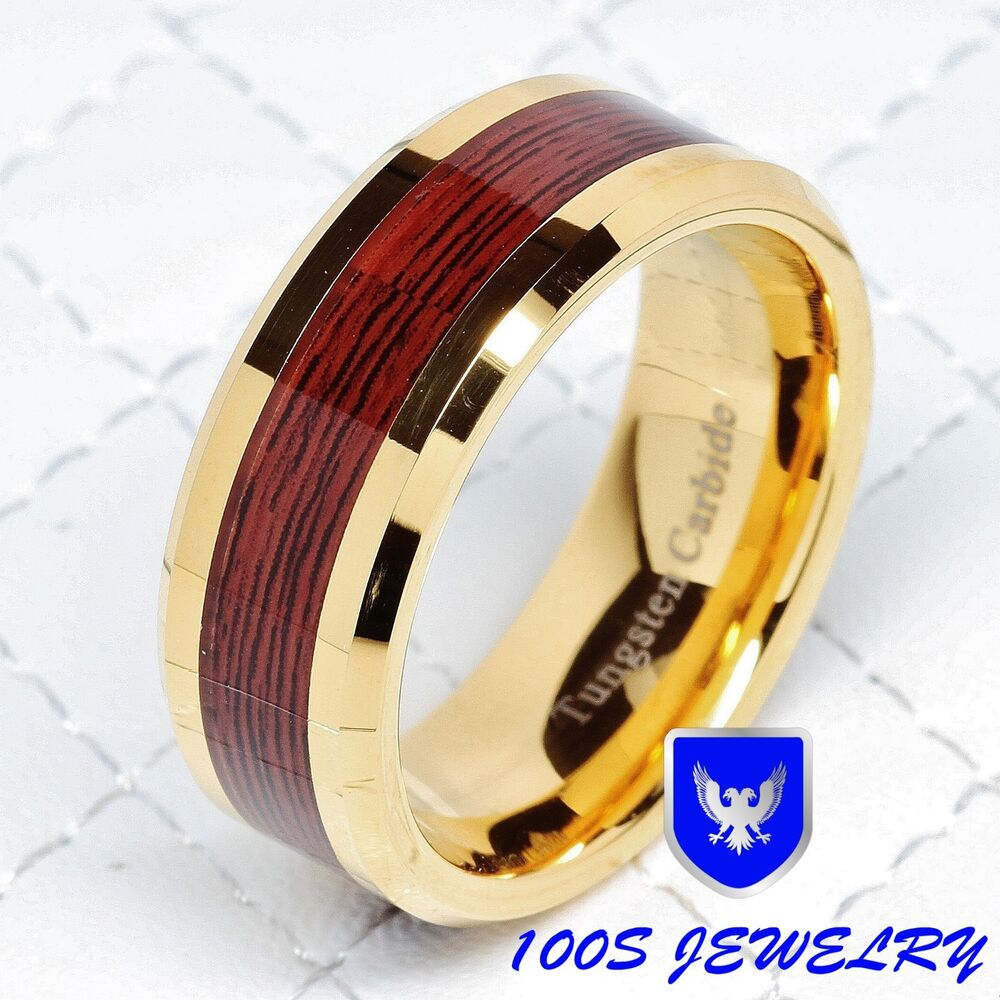 Mens Tungsten Carbide Red Wood Inlay Gold Plated Wedding