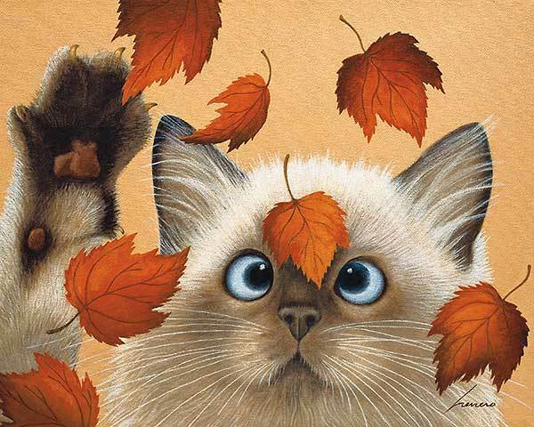 ERIN MARTIN Lowell Herrero Whimsical Siamese Cat In Leaves