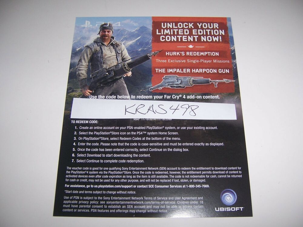 Far Cry 4 PS4 DLC CODE ONLY Hurks Redemption Amp Harpoon