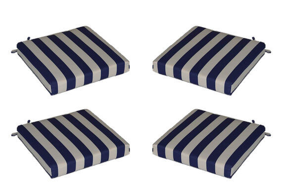 Set Of 4 In / Outdoor Foam Seat Cushions Navy Blue White