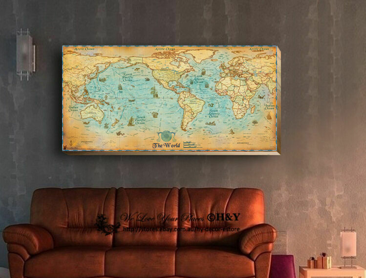 Ancient World Map Stretched Canvas Print Framed Antique