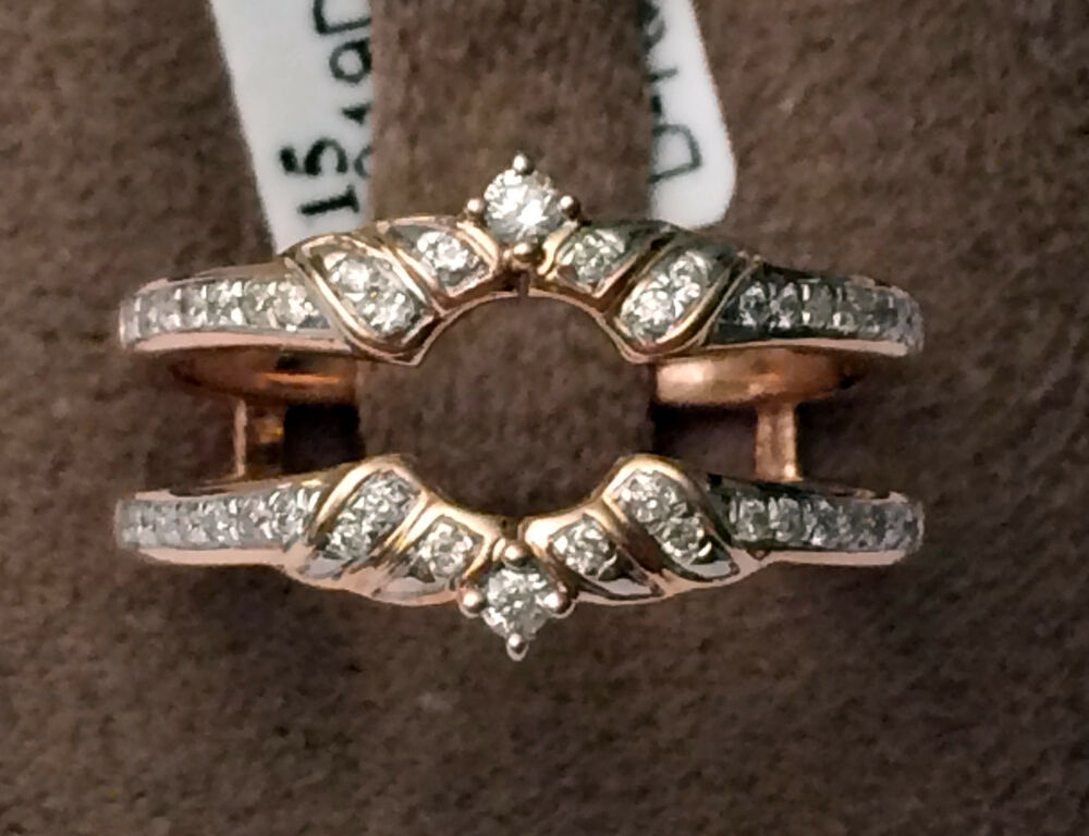 Solitaire Enhancer Round Diamonds Ring Guard Wrap 14k Rose Gold Wedding Vintage Ebay