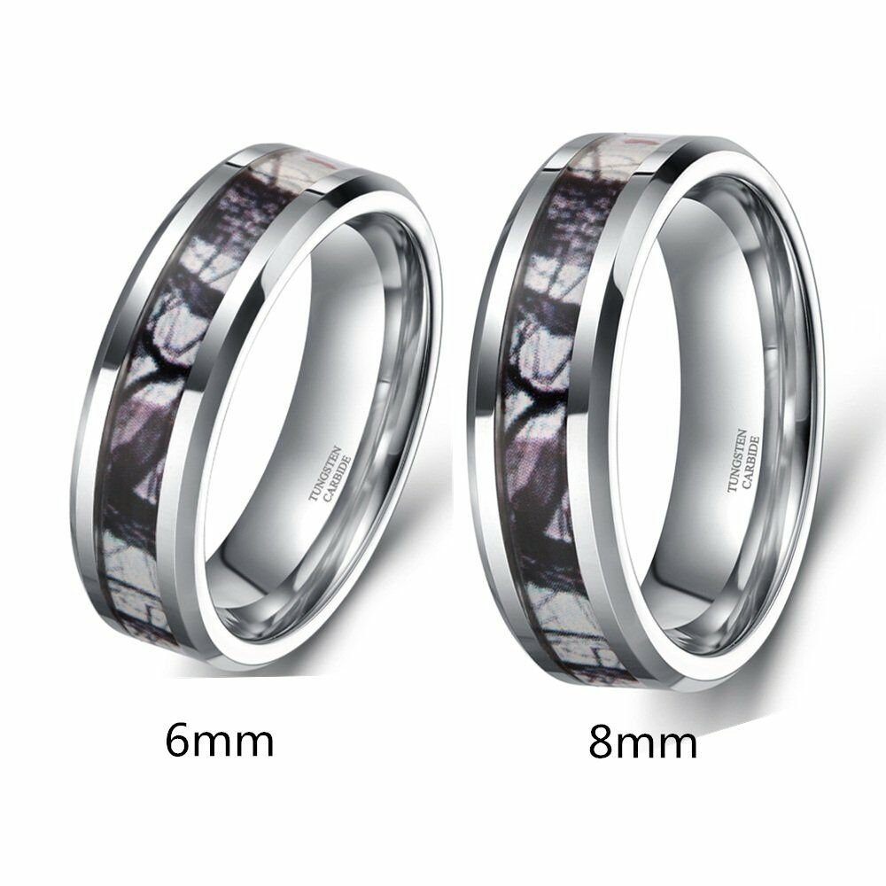 Mens Tungsten Dome Ring Forest Camouflage Camo Real Tree