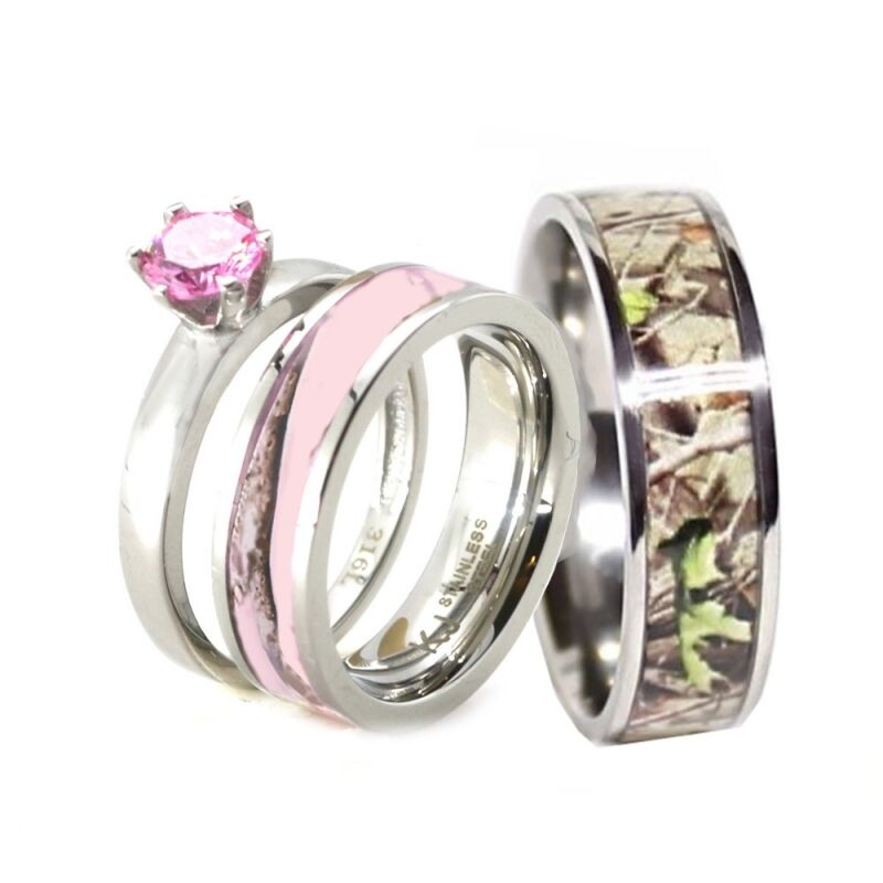 HIS Amp HER Pink Camo Band Engagement Wedding Ring Set