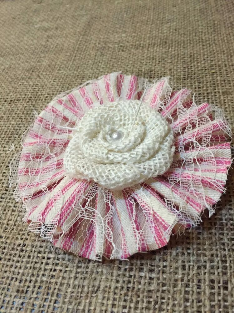 White Burlap Lace Flowers Pink Ticking Girl Baby Shower Wedding Country Table EBay