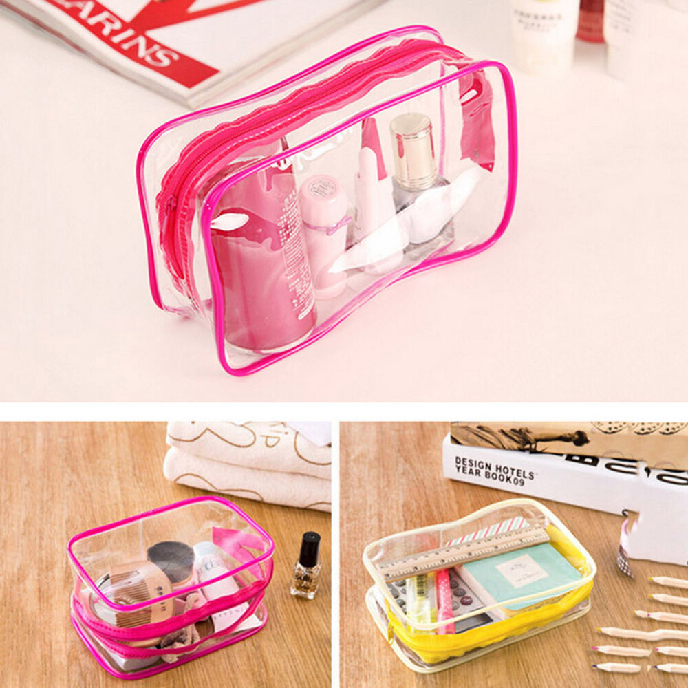 PVC Clear Plastic Pouch Travel Bathing Toiletry Zipper