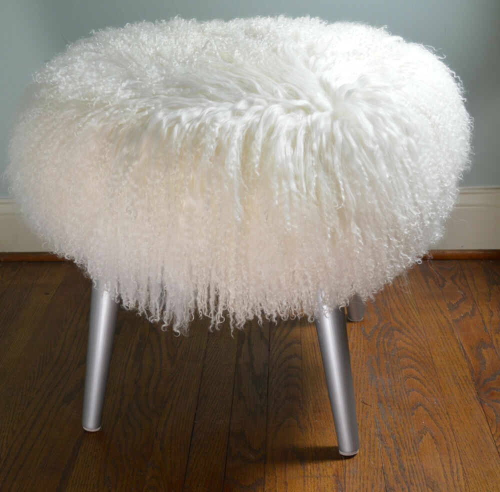 Mongolian Lamb Fur Stool Real Natural White Tibet Bench