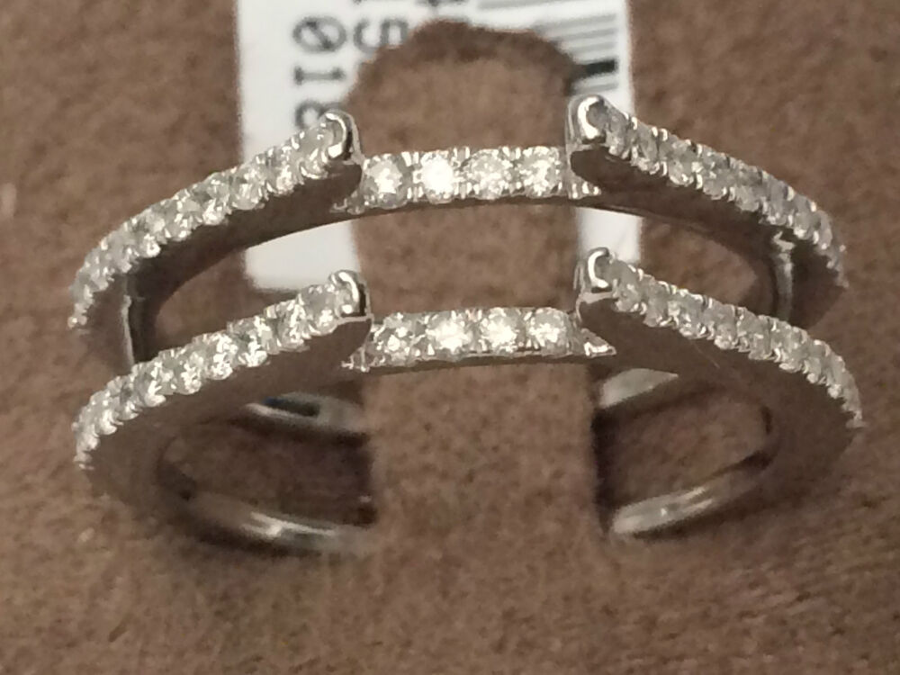 Pave Vintage Cathedral Ring Diamonds Guard Solitaire