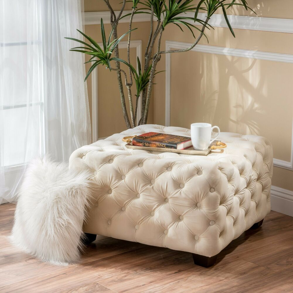 Large Square Fabric Ottoman