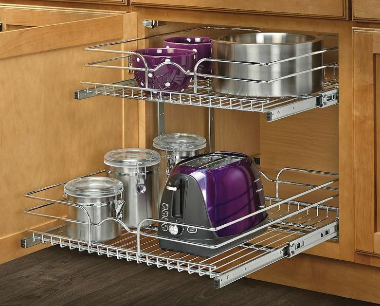 Kitchen Shelf 2 Tier Metal Pull Out Cabinet Basket