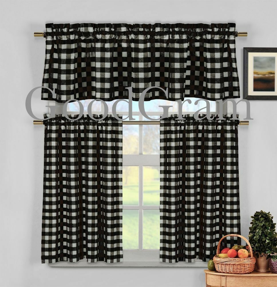 Black Gingham Checkered Plaid Kitchen Curtain Tier Amp Valance Set By Duck River EBay