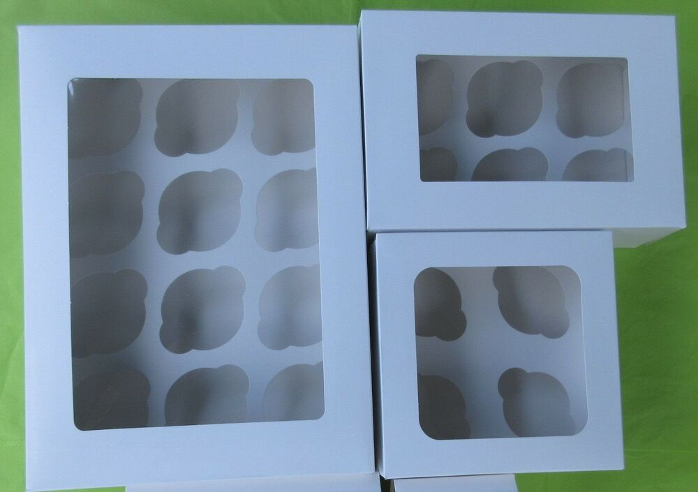 Window Cupcake Boxes Various Sizes 1, 2, 4, 6, 12 Cup