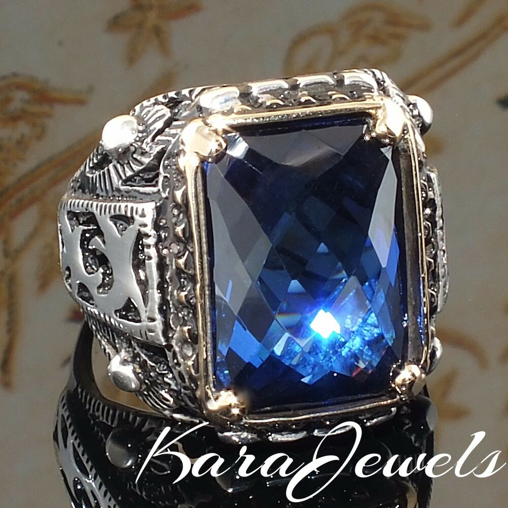 925 Sterling Silver Mens Ring Blue Sapphire Unique
