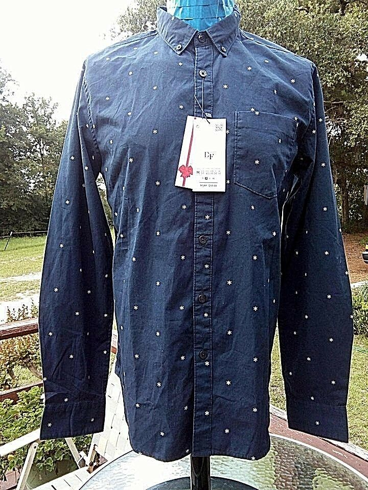 99a84f3ba67 Denim Flower Ricky Singh Men S Shirt M Medium 35 36 Navy Blue