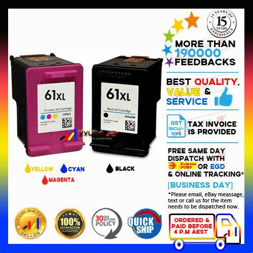 2x Ink Cartridges For Hp 61 Xl Envy 4500 4504 5530