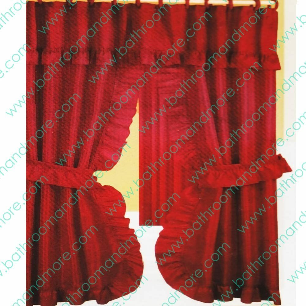 Double Swag Fabric Shower Curtain12 Matching Hooks 2 Tie BacksHooks Rusty Red EBay