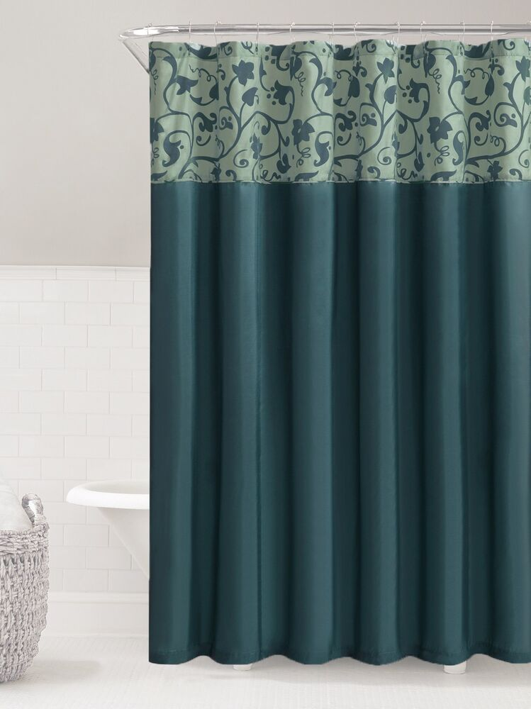 Teal Amp Steel Blue Faux Silk Fabric Shower Curtain Embossed Floral Amp Vine Design 1111149212366 EBay