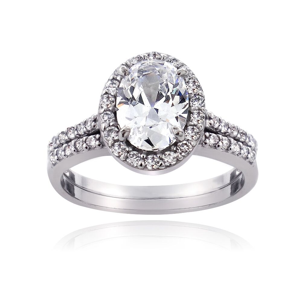 925 Sterling Silver 175ct CZ Oval Bridal Engagement Ring