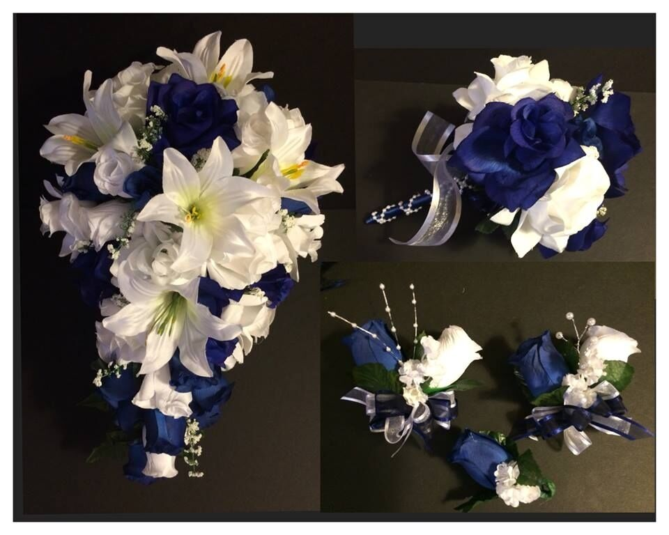 Blue White Lily Silk Rose Flower Wedding Bridal Bouquet