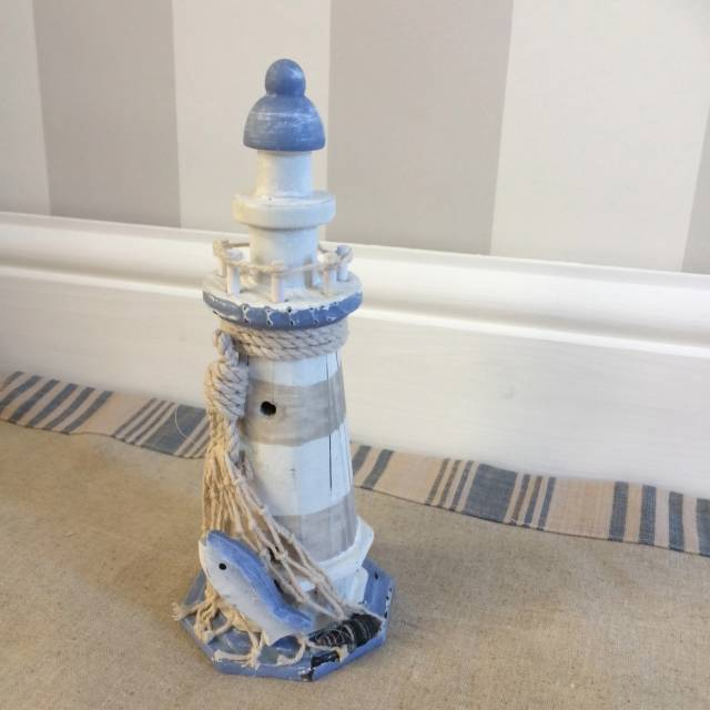 Rustic Blue And White Lighthouse 20cm High Nautical