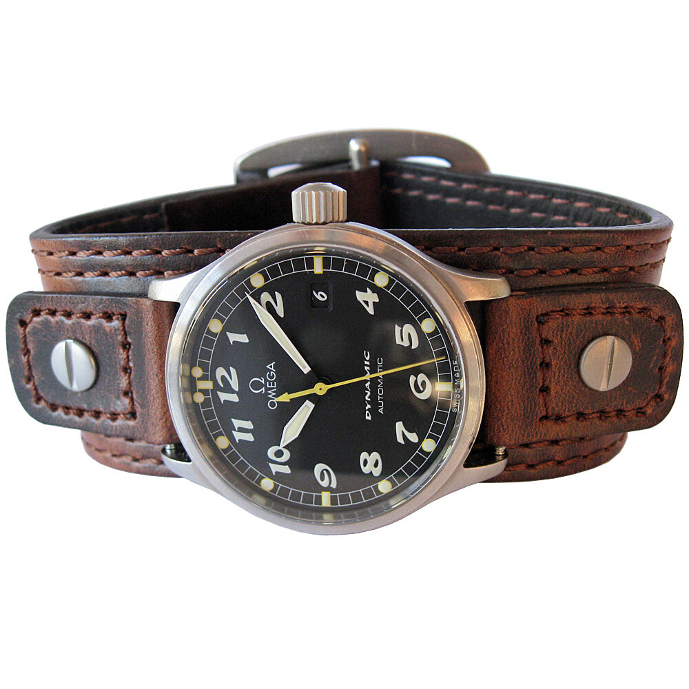 18mm 20mm Hadley Roma Wide Brown Leather Riveted Military