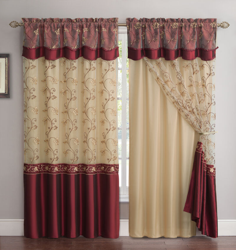 All In One Burgundy Window Curtain Drapery Panel Double Layer Solid Color Back EBay