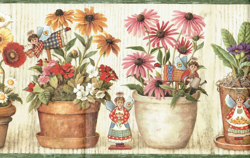 FLOWERS AND ANGEL STANDS AND POTS Wallpaper BordeR Wall