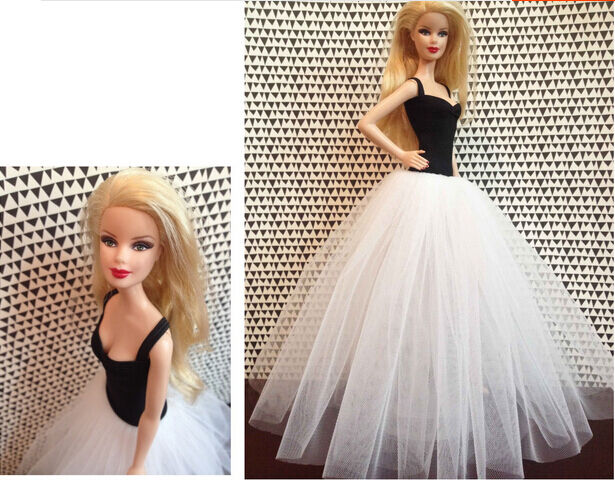 Fashion Black And White Gauze Skirt Evening Dress Outfit