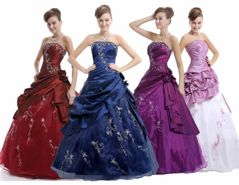 Cheap Taffeta Prom Party Formal Ball Gowns Quinceanera