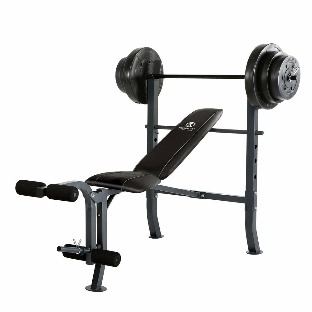 Marcy Standard Bench W 100 Lb Weight Set Home Gym Workout