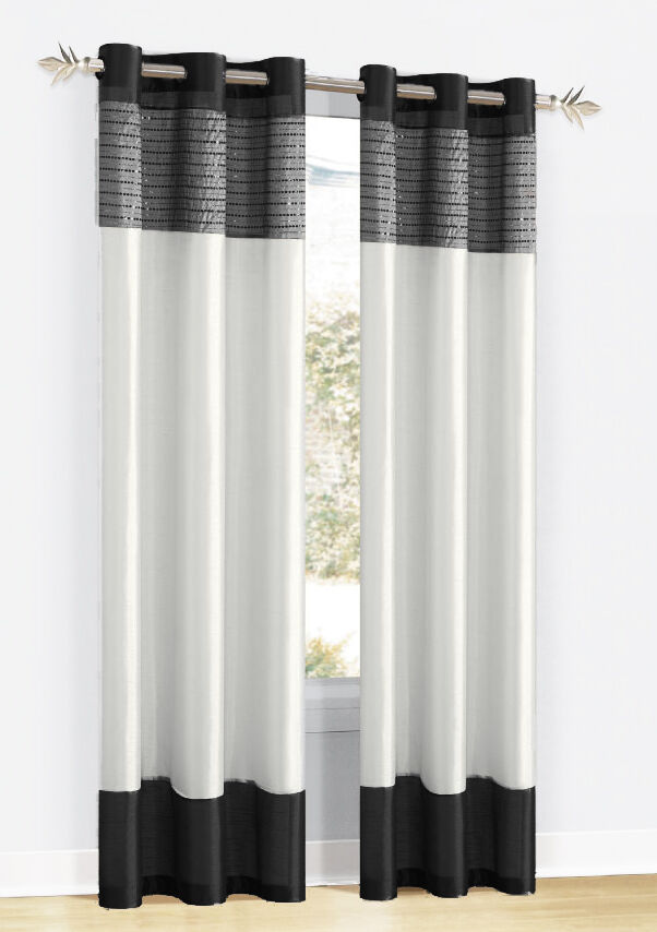 Black White And SilverGray Sequined Window Panel Curtain With Metal Grommets EBay