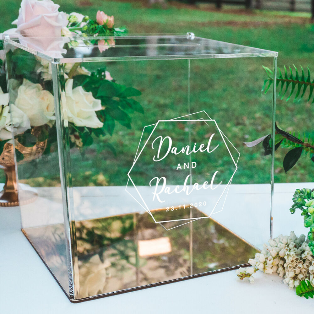 Personalised Favours Wedding Card Box For Reception Clear Engraved Acrylic EBay