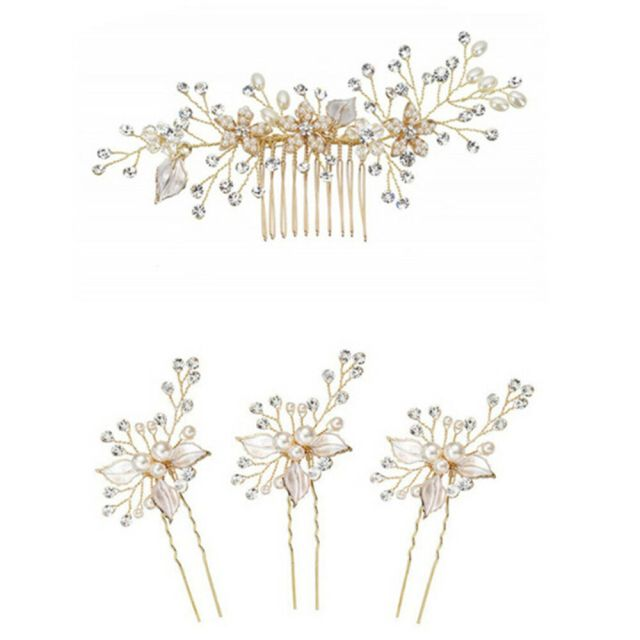 women gold rhinestone pearl hair comb clip bridal wedding hair accessories ij | ebay