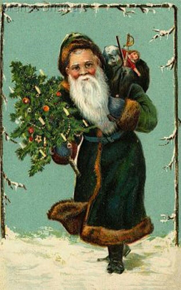 Victorian Father Christmas Santa Claus 1 Antique Card