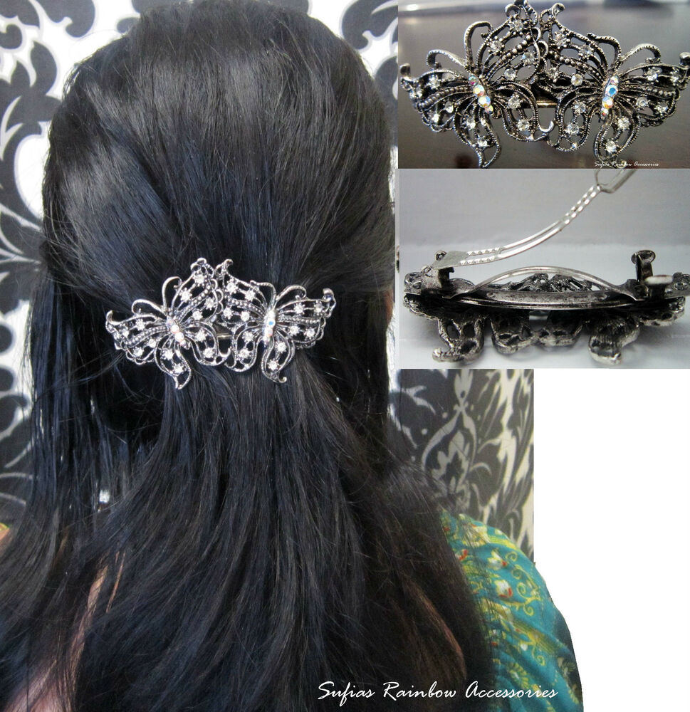 Wedding Prom Silver Crystal Vintage Butterfly Barrette