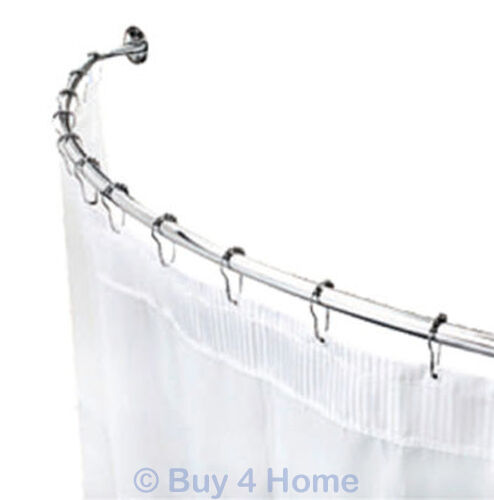 Croydex Circle End Telescopic Curved Shower Curtain Rail Extendable Chrome Rod 5012044071446
