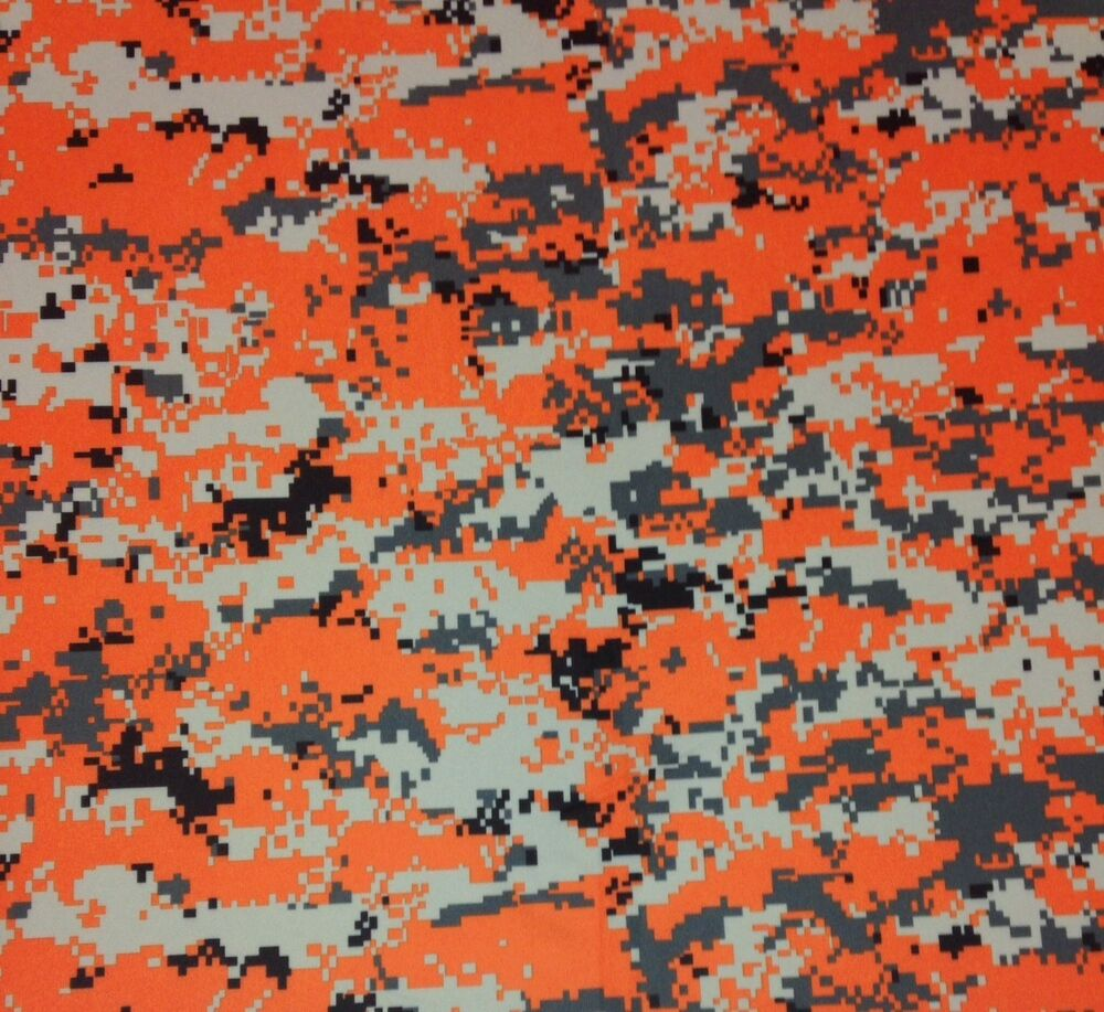 Digital Camo Orange Black Polyester Knit Interlock