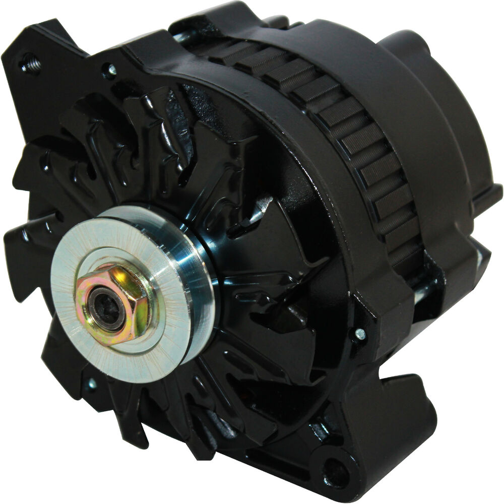New Black High Output Alternator Fits Chevy 170 Amp 1 Wire