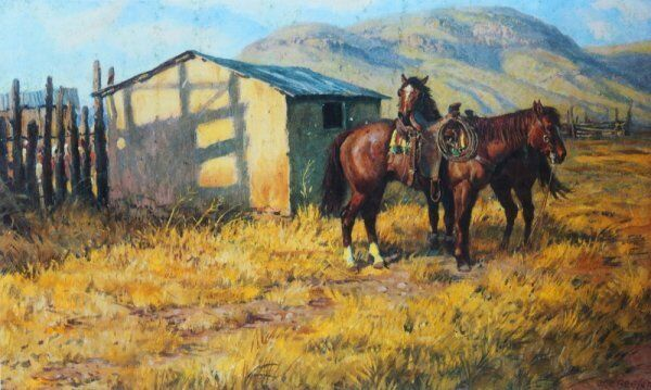 Old Cowboy Shack 2 Saddled Horses by Joe Beeler | eBay