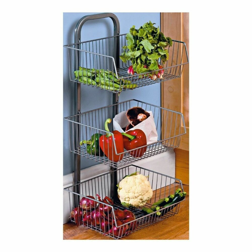 3 Tier Metal Vegetable Fruit Storage Rack Stand Basket
