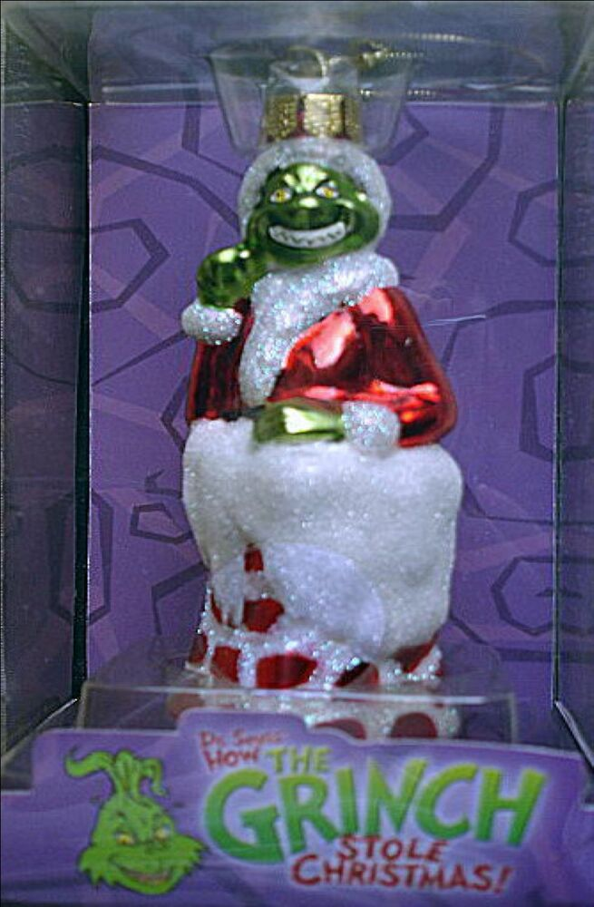 DR SEUSS THE GRINCH IN CHIMNEY BLOWN GLASS NEW ORNAMENT 5