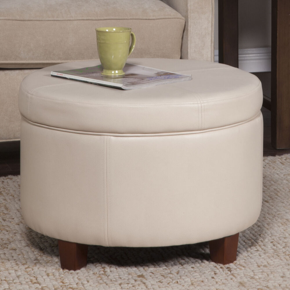 Round Leather Ottoman Table