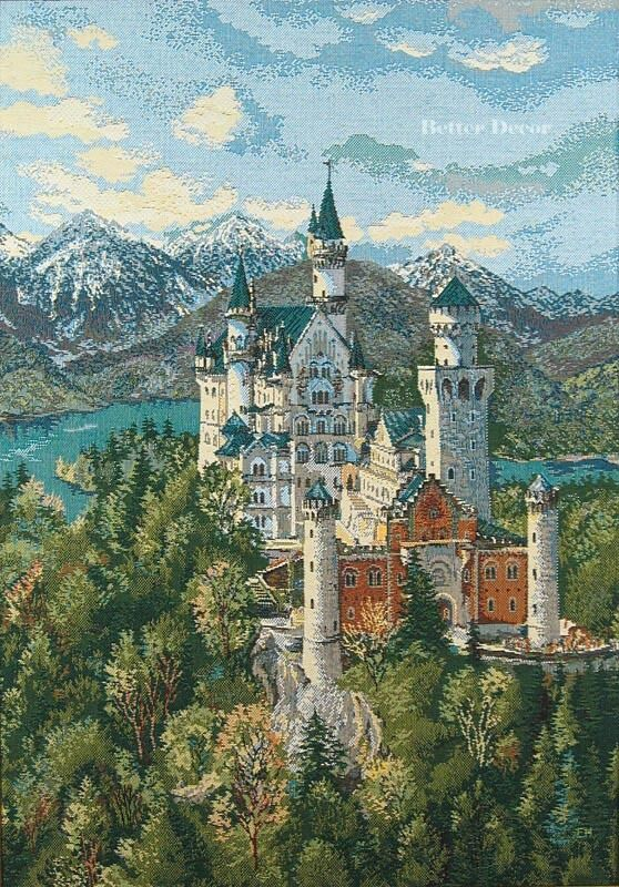 WALL JACQUARD WOVEN TAPESTRY Neuschwanstein Castle Germany MEDIEVAL PICTURE EBay