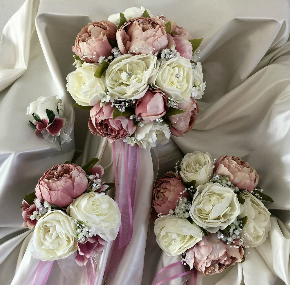 Wedding Flowers Dusky Pink Peony Crystal Bouquet Bride