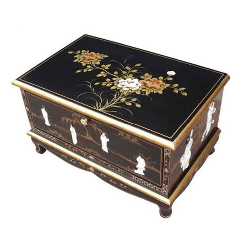 MOTHER OF PEARL ORIENTAL FURNITURE BLACK LACQUER TV UNIT EBay
