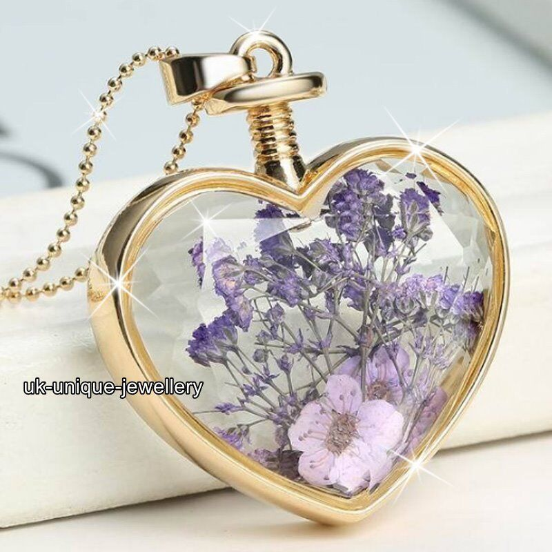 Purple Flowers Necklace Gold Valentines Day Xmas Gift For
