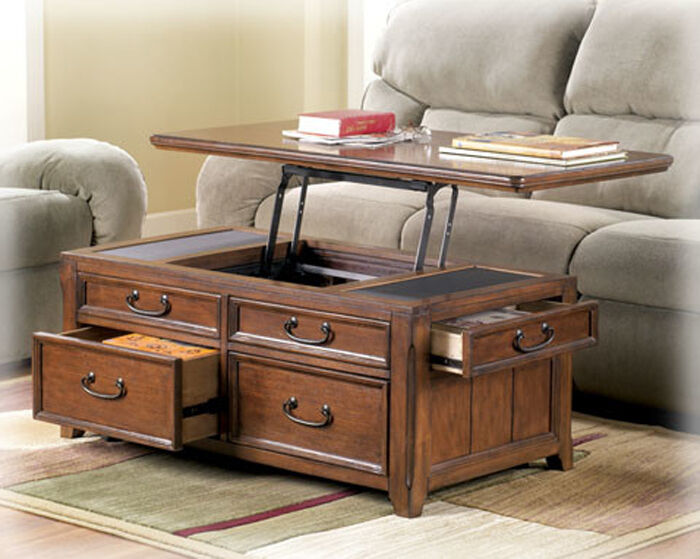 Coffee Table W Lift Top Trunk Flip Up Storage Drawers Wood